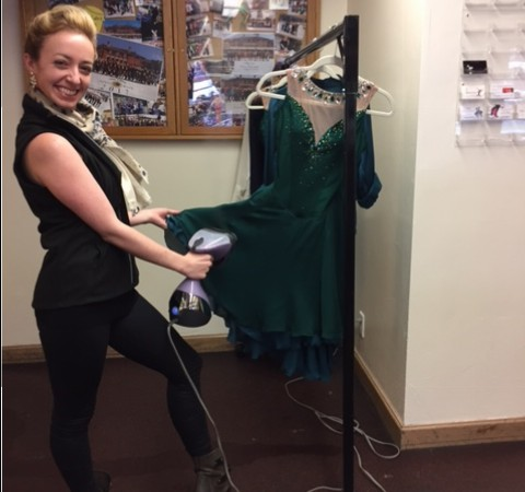 IDI's brilliant costume designer/seamstress/tailor, Alicia Jackson, doing some last minute steaming for one of the dresses from Emeralds!