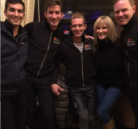 Watching the show taping from the lobby of the elegant and cozy Sun Valley Lodge with IDI cast members: Mauro Bruni, Neill Shelton, Adam Kaplan and Todd Gilles.
